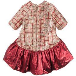 Quis Quis - Girls Red & Gold Dress   Childrensalon