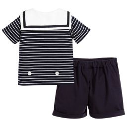 Rachel Riley - Baby Boys Blue & White Sailor Suit | Childrensalon