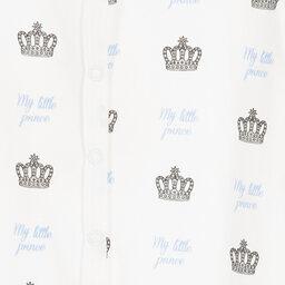 Rachel Riley - Ivory & Blue Crown Prince Babygrow | Childrensalon