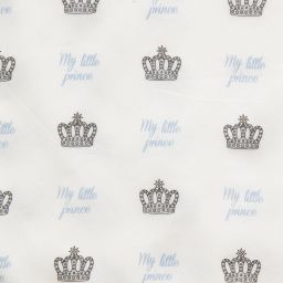 Rachel Riley - Ivory Prince Crown Print Blanket (94cm) | Childrensalon