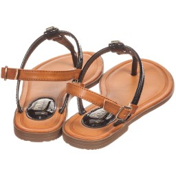 Polo Ralph Lauren - Girls Black Synthetic Patent Sandals | Childrensalon