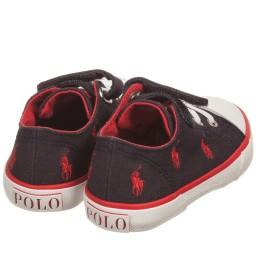 Polo Ralph Lauren - Navy Blue Velcro Canvas Trainers | Childrensalon