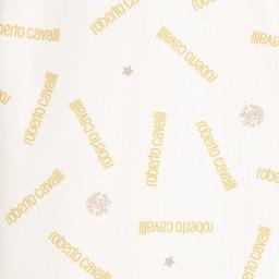 Roberto Cavalli - Ivory & Gold Logo Print Babygrow & Hat Gift Set | Childrensalon