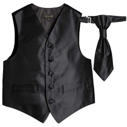 Romano Vianni - Boys Black Waistcoat & Cravat Tie Set | Childrensalon