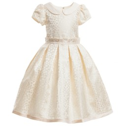 Romano Princess - Cream Gold Spotted Satin Dress | Childrensalon