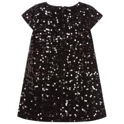 Romano Princess - Girls Black Sequined Velvet Dress   Childrensalon
