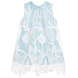 Romano Princess - Girls Blue & White Lace Dress | Childrensalon