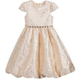 Romano Princess - Gold Dress with Diamanté Belt   Childrensalon