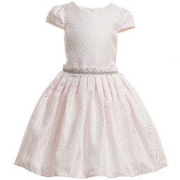 Romano Princess - Pale Pink Satin Dress with Diamanté Trim | Childrensalon