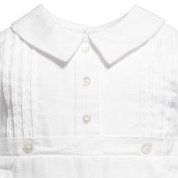 Sarah Louise - Baby White Linen Shortie Set | Childrensalon