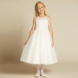 Sarah Louise - Girls Ivory Embellished Tulle Dress | Childrensalon