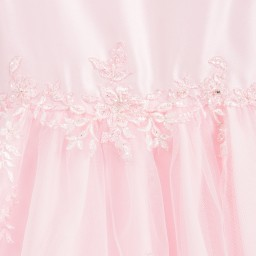 Sarah Louise - Pink Embroidered Satin & Tulle Dress  | Childrensalon