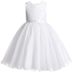 Sarah Louise - White Tulle Beaded Occasion Dress | Childrensalon