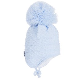 Satila of Sweden - Blue Knitted Large Pom-Pom Hat | Childrensalon