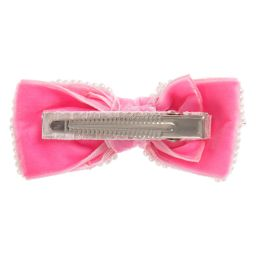 Sienna likes to party - Girls Pink Velvet & Bead Hairclip (8cm) | Childrensalon
