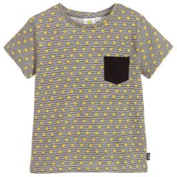 Smiley Originals - Boys Grey Striped Logo T-Shirt | Childrensalon