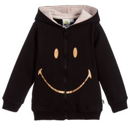 Smiley Originals - Girls Black Zip-Up Top  | Childrensalon