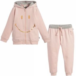 Smiley Originals - Pink Jersey Tracksuit | Childrensalon