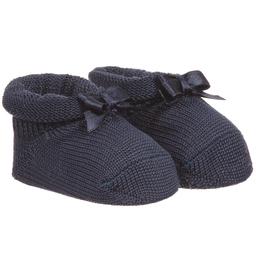 Story Loris - Baby Girls Navy Blue Headband & Booties Gift Set | Childrensalon