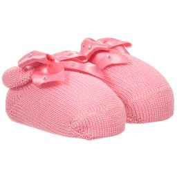 Story Loris - Baby Girls Pink Booties with Bows | Childrensalon