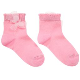 Story Loris - Girls Bright Pink Socks with Butterfly | Childrensalon