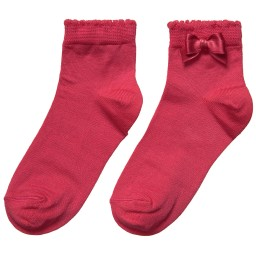 Story Loris - Girls Dark Pink Socks with Bow | Childrensalon