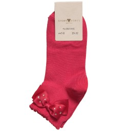 Story Loris - Girls Dark Pink Socks with Diamanté Bow | Childrensalon