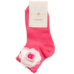 Story Loris - Girls Dark Pink Socks with Floral Appliqué | Childrensalon