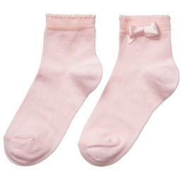 Story Loris - Girls Pale Pink Socks with Bow | Childrensalon