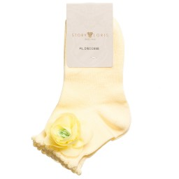 Story Loris - Girls Pale Yellow Socks with Floral Appliqué | Childrensalon