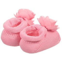 Story Loris - Girls Pink Booties with Flowers | Childrensalon