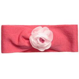 Story Loris - Girls Pink Cotton Jersey Headband with Flower | Childrensalon