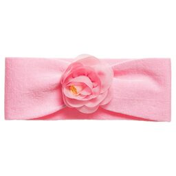 Story Loris - Girls Pink Cotton Jersey Headband with Flower   Childrensalon