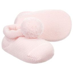 Story Loris - Girls Pink Pom-Pom Booties  | Childrensalon