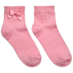 Story Loris - Girls Pink Socks with Bow   Childrensalon