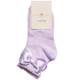 Story Loris - Girls Purple Socks with Diamanté Bow | Childrensalon