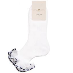 Story Loris - Girls White Cotton Socks with Blue Ribbon Ruffles | Childrensalon