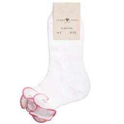 Story Loris - Girls White & Pink Ruffle Socks | Childrensalon