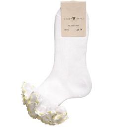 Story Loris - Girls White Socks with Yellow Ribbon Ruffles | Childrensalon