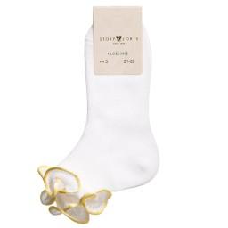 Story Loris - Girls White & Yellow Ruffle Socks | Childrensalon