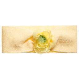 Story Loris - Girls Yellow Cotton Jersey Headband with Flower | Childrensalon