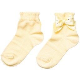 Story Loris - Girls Yellow Socks with Diamanté Bow | Childrensalon
