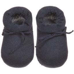 Story Loris - Navy Blue Cotton Baby Booties | Childrensalon
