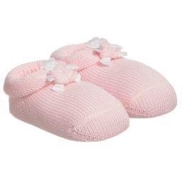 Story Loris - Pink Cotton Booties with Bear | Childrensalon
