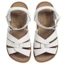 Sun-San Sandals - White Leather 'Salt Water' Buckle Sandals | Childrensalon