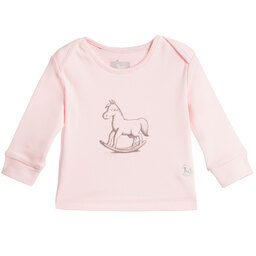 The Little Tailor - Baby Girls Pink Cotton Jersey Rocking Horse Top | Childrensalon