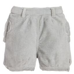 The Little Tailor - Girls Grey Velvet Shorts | Childrensalon