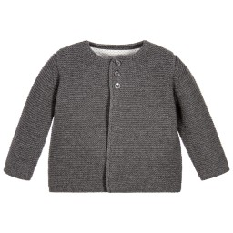 The Little Tailor - Grey Knitted Cotton Cardigan | Childrensalon