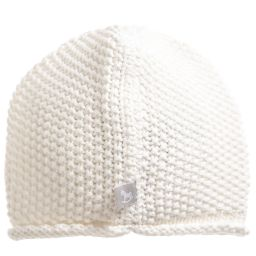 The Little Tailor - Ivory Cotton Knitted Baby Hat | Childrensalon