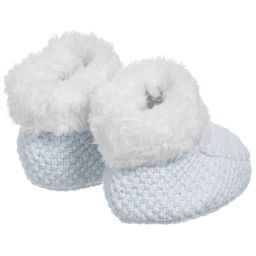 The Little Tailor - Pale Blue Knitted Baby Booties | Childrensalon